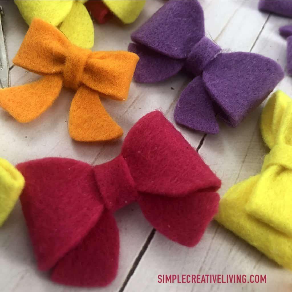 Mini felt bows in various colors