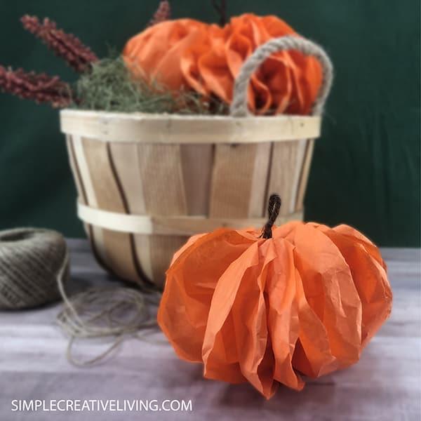 orange pumpkins made from tissue paper
