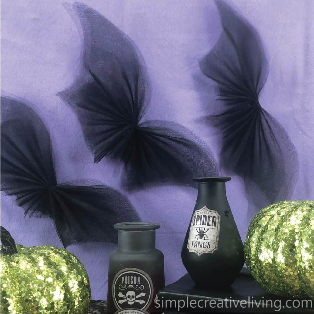 tulle bats with Halloween decorations